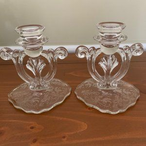 Pair of Imperial Glass Etched Candlestick Holders